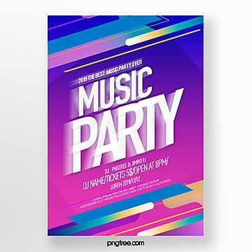 dynamic lines abstract color gradient party night poster Template