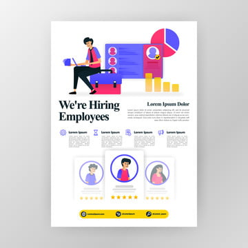 employee recruitment poster  were hiring job seekers ads with flat cartoon illustration  flayer business pamphlet brochure magazine cover design layout space for  vector print template in a4 size Template