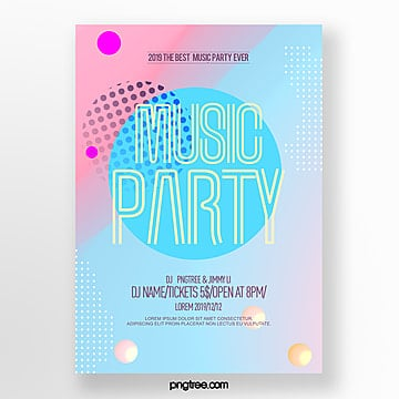 fashion color gradient simple party night poster Template