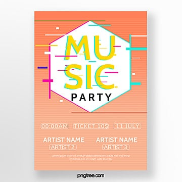 fashion gradient fault wind festival poster Template