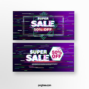 fault style purple commercial promotion banner Template