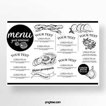 hand drawn commercial black and white bread baking shop menu Template