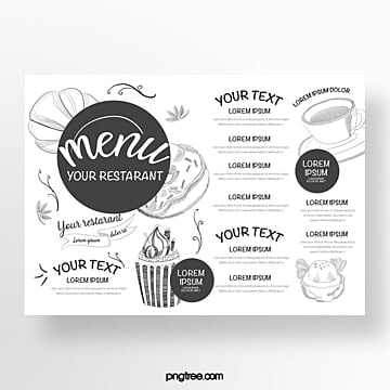 hand drawn commercial black and white sketch baking shop menu Template