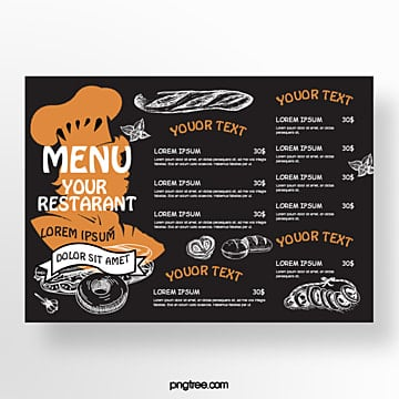 hand drawn commercial brown pastry chef silhouette baking shop menu Template