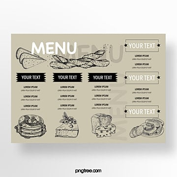 hand drawn commercial grey text typography baking shop menu Template