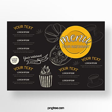 hand drawn commercial orange cake baking shop menu Template