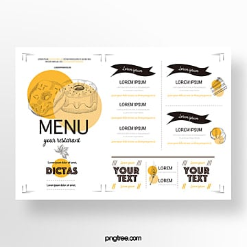 hand drawn commercial orange yellow donut baking shop menu Template