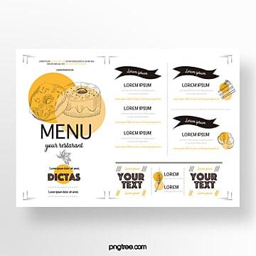 hand drawn commercial orange yellow donut baking shop menu Template