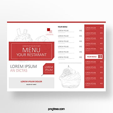hand drawn commercial red sketch cake baking shop menu Template