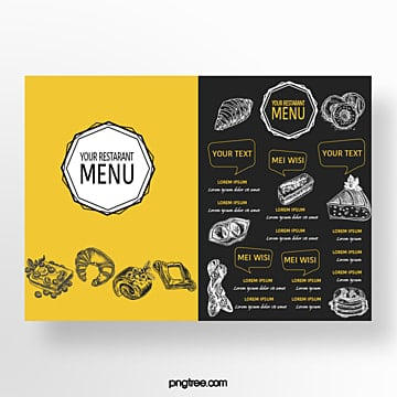 hand drawn commercial yellow blueberry toast bakery shop menu Template