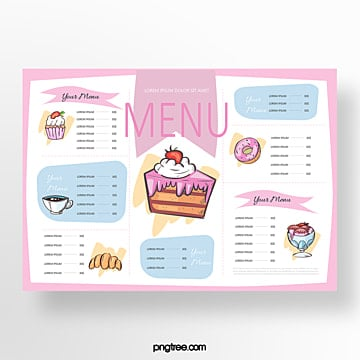 hand painted commercial pink cake baking shop menu Template