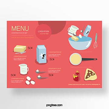 hand painted commercial red baking ingredients baking shop menu Template