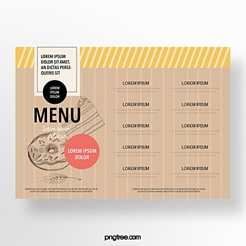 hand painted commercial vintage shading baking shop menu Template