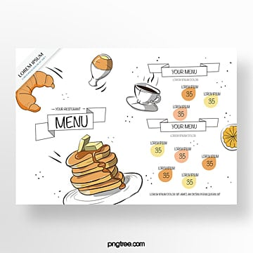 hand painted commercial white croissant baking shop menu Template