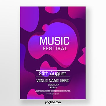 purple abstract liquid music festival poster Template
