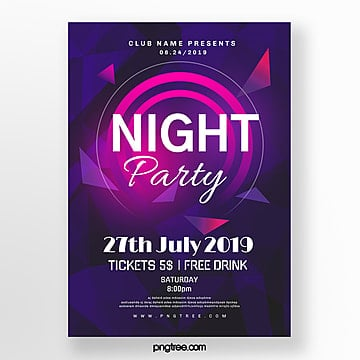 purple party night gradient abstract poster Template