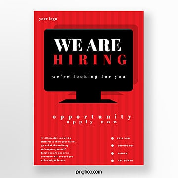 simple red company recruitment poster Template