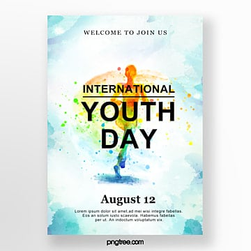 sports youth festival watercolor poster Template