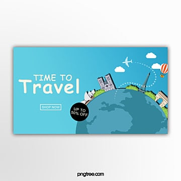 three dimensional building travel promotion banner Template