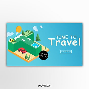 three dimensional travel offer banner Template