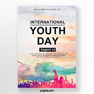 watercolor jumping youth festival poster Template