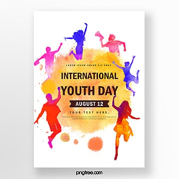 watercolor style youth festival poster Template