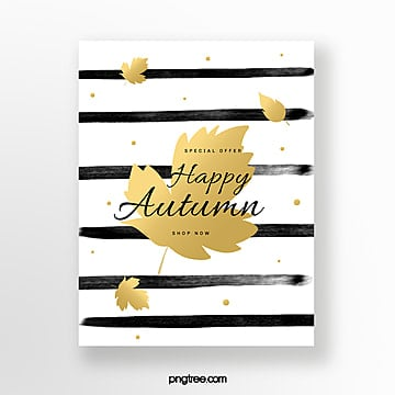 black brush golden autumn blessing card Template