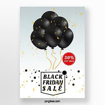 검은 금요일 풍선 판촉 포스터 템플릿 주형