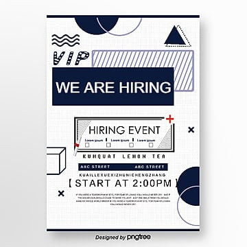 blue geometric creative recruitment poster Template