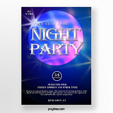 blue gradient party night abstract poster Template