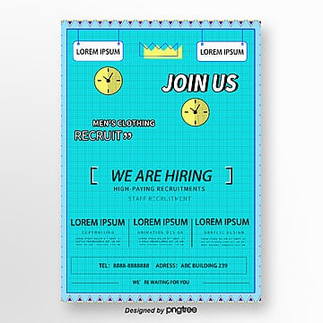 blue plaid creative recruitment poster Template