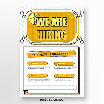 creative wave point yellow recruitment poster Template