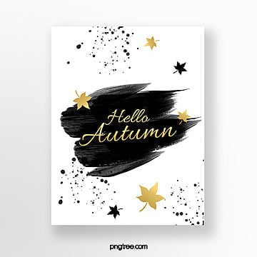 fashion brush golden autumn blessing card Template