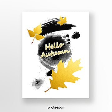 golden autumn greeting card Template