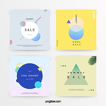 gradient refreshing geometric summer discount promotion set Template