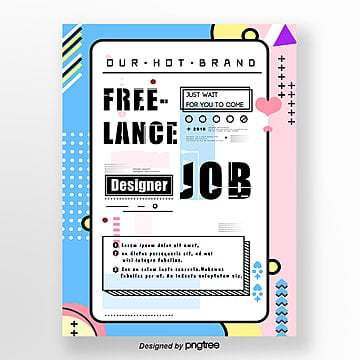 memphis style minimalist recruitment creative poster Template