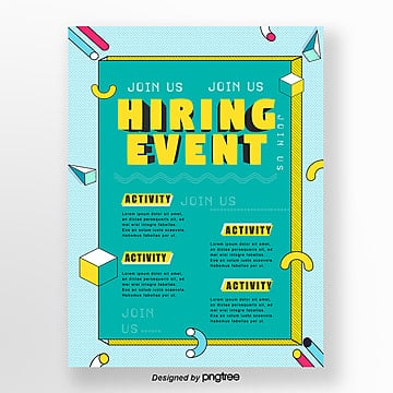 memphis style recruitment creative poster Template