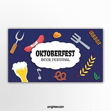 oktoberfest blue cartoon banner Vorlage