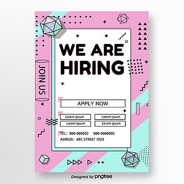pink memphis geometry recruitment poster Template