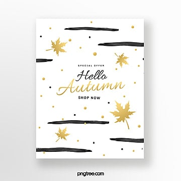 simple brush golden autumn blessing card Template