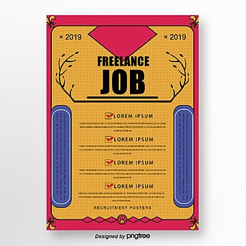 yellow hand drawn recruitment creative poster Template