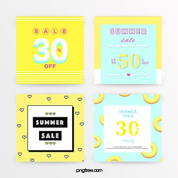 yellow refreshing geometric style summer discount promotion set Template