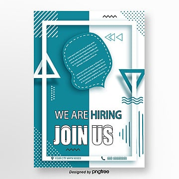 blue geometric memphis style recruitment poster Template