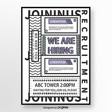 black and white geometric memphis style recruitment poster Template