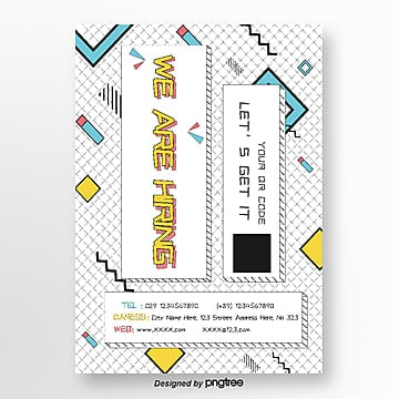 white stripe geometric creative recruitment poster Template