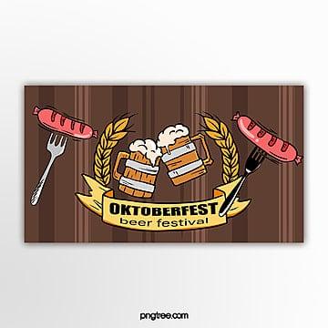 brown hand gezeichnete flache einfache weizen wurst oktoberfest fahne Vorlage