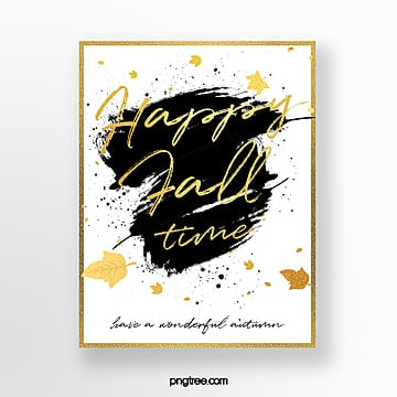 golden hand drawn autumn greeting card Template