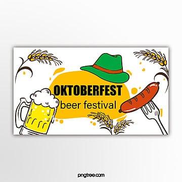 gelbe hand gezeichnete flache einfache weizenwurst oktoberfest fahne Vorlage
