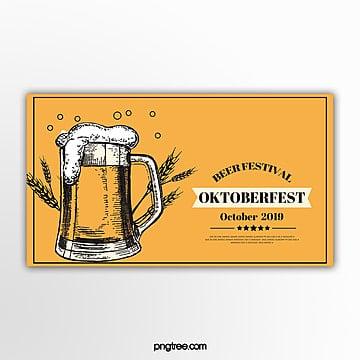 gelbe vintage oktoberfest banner Vorlage
