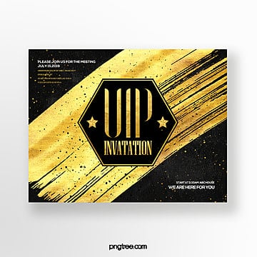 black gold effect gold foil fashion high end vip business invitation Template